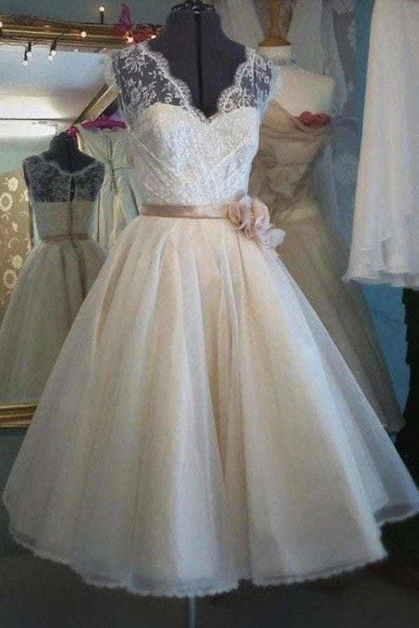 Vintage A-line Tea-length Wedding Gowns,Sheer Back Lace Up Beach Wedding Dress With Belt