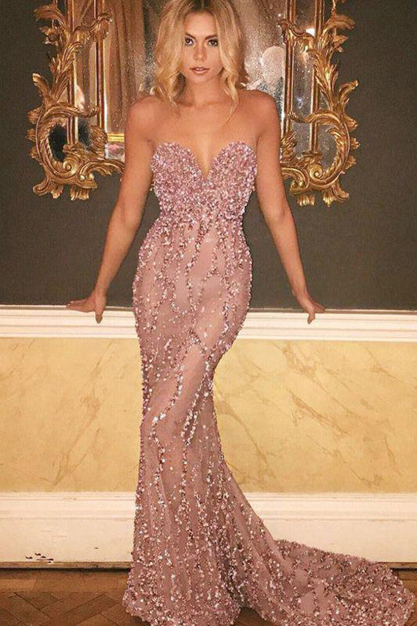 Sexy Sweetheart Strapless Prom Dress,Low Back Sequins Beading Evening Dress