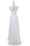 Simple A-line V-neck Floor Length Wedding Gowns,Open Back Chiffon Beach Wedding Dress OMW24 - Ombreprom