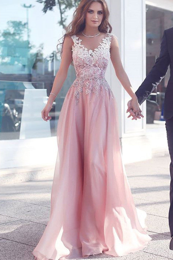 Princess A Line V Neck Prom Dress,Appliques Floral Tulle Evening Dress