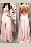 Charming Deep V Neck Prom Dress,Appliques Open Back Side Slit Tulle Evening Dress OMP26 - Ombreprom
