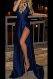 Simple Deep V Neck Prom Dress,Side Slit Tulle Evening Dress OMP27 - Ombreprom