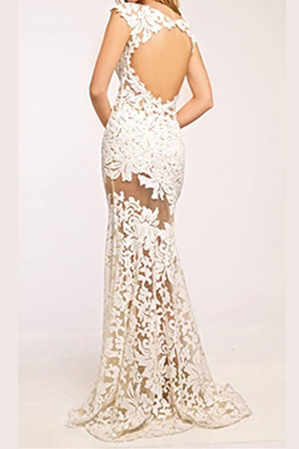 Sexy Sheer Trumpet Prom Dress,Appliques Floral Keyhole Back Evening Dress OMP28 - Ombreprom