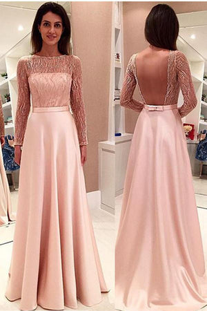 Elegant Boat Long Sleeves Prom Dress,Open Back Sheer Evening Dress