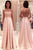 Elegant Boat Long Sleeves Prom Dress, Backless Evening Dress OMP30