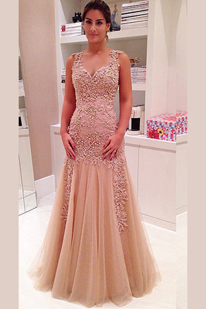 Elegant V Neck Layers Tulle Prom Dress,Sheer Back Appliques Floral Evening Dress