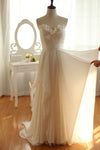 Simple A-line Bodice Floor Length Wedding Gowns,Ruffles Chiffon Beach Wedding Dress