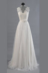 Charming Appliques Lace Top Wedding Gowns,V Neck Sweep Train Beach Wedding Dress