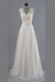 Charming Appliques Lace Top Wedding Gowns,V Neck Sweep Train Beach Wedding Dress OMW48