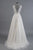 Charming Appliques Lace Top Wedding Gowns,V Neck Sweep Train Beach Wedding Dress OMW48 - Ombreprom