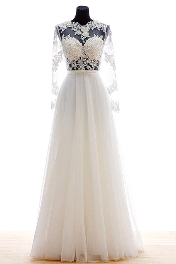 Illusion Long Sheer Sleeves Wedding Gowns,Appliques Pleat Beach Wedding Dress