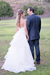 Strapless Sweetheart A Line Wedding Gowns,Floor Length Ruffles Wedding Dress