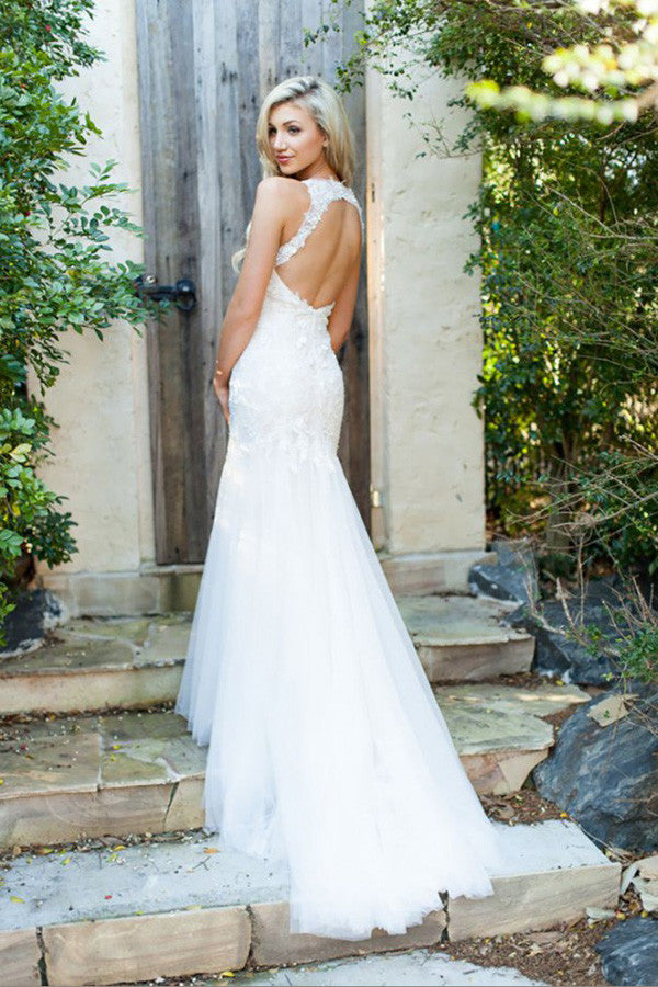 V Neck Fit And Flare Pleats Wedding Gowns,Sweep Train Keyhole Back Appliques Wedding Dress