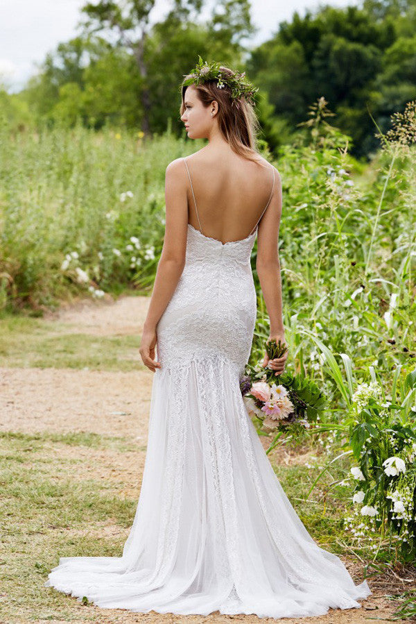 Simple Sweetheart Spaghetti Strap Fit And Flare Pleats Wedding Gowns,Low Back Appliques Wedding Dress OMW58