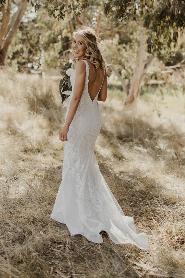 Sexy V Neck Trumpet Wedding Gowns,Sweep Train Appliques V Back Wedding Dress