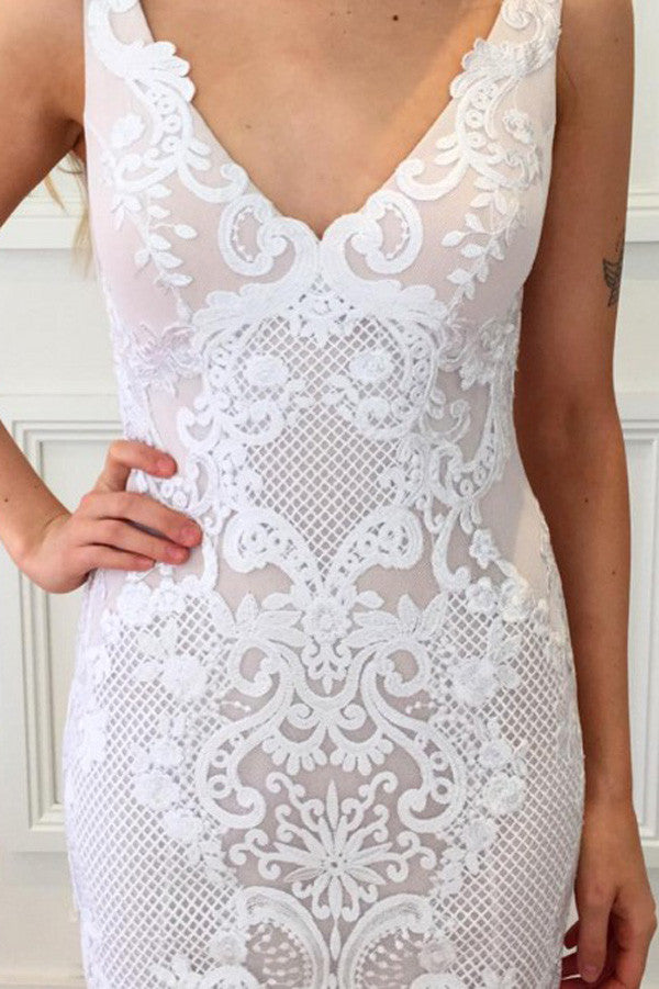 V Neck Sheath Wedding Gowns,Floor Length Lace Appliques V Back Beach Wedding Dress OMW59