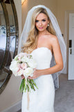 Strapless Sweetheart Wedding Gowns,Sweep Train Appliques Low Back Wedding Dress OMW62