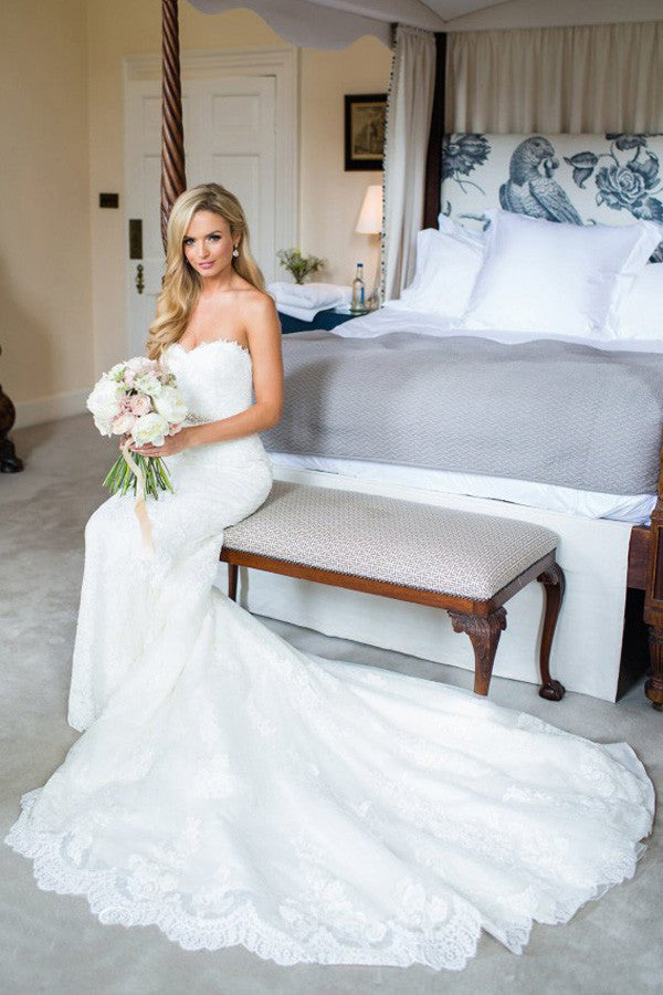 Luxury Strapless Sweetheart Trumpet Wedding Gowns,Sweep Train Appliques Low Back Wedding Dress