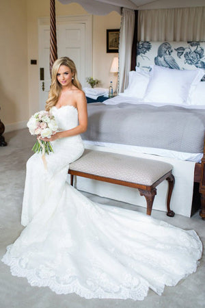 Strapless Trumpet Wedding Gowns,Sweep Train Appliques Wedding Dress ...