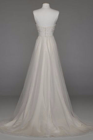 Simple Strapless Sweetheart A Line Wedding Gowns,Sweep Train Appliques Low Back Wedding Dress OMW63