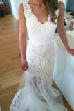 Simple V Neck Fit&Flare Wedding Gowns,Sweep Train Hollow Floral V Back Beach Wedding Dress OMW64
