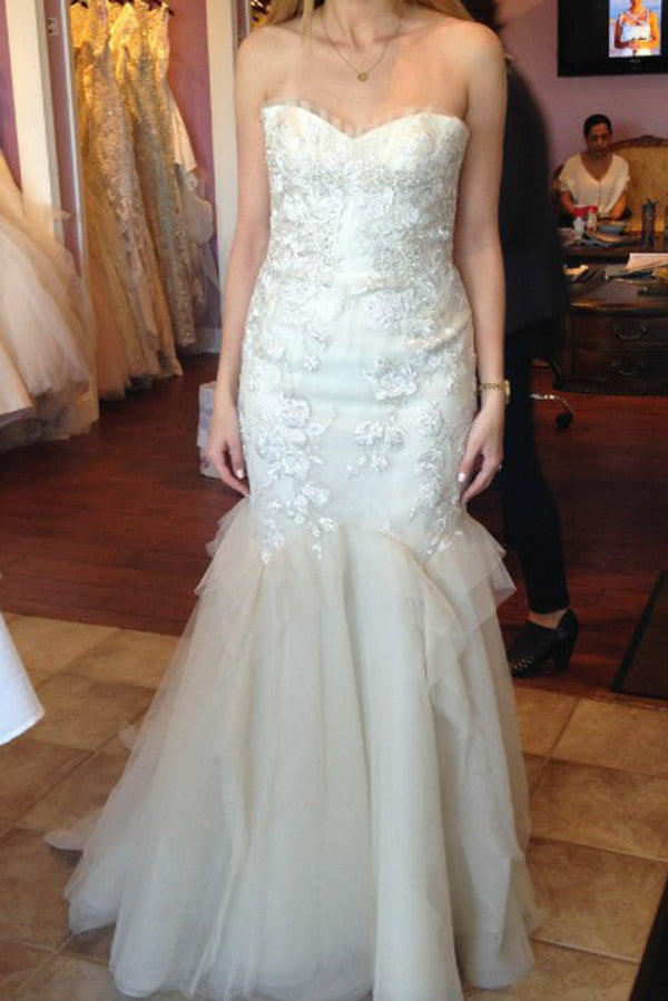 Simple Floor Length Strapless Sweetheart Wedding Gowns,Fit&Flare Low Back Appliques Beach Wedding Dress