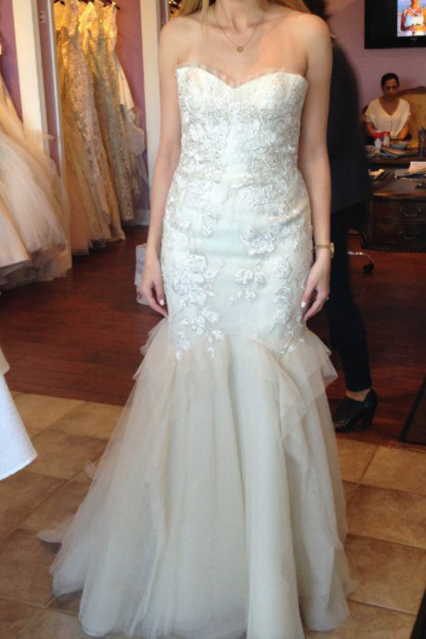 Simple Floor Length Strapless Sweetheart Wedding Gowns,Fit&Flare Low Back Appliques Beach Wedding Dress OMW66 - Ombreprom