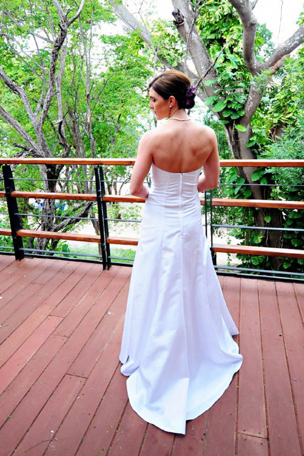 Simple Floor Length Strapless Curve Wedding Gowns,A Line Mid Back Appliques Beach Wedding Dress OMW70 - Ombreprom