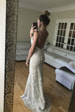 Simple Sweetheart Trumpet Wedding Gowns,Sweep Train Hollow Floral Beach Wedding Dress OMW71