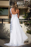 Simple One Shoulder Sheath Wedding Gowns,Floor Length Floral Mid Back Wedding Dress OMW74 - Ombreprom