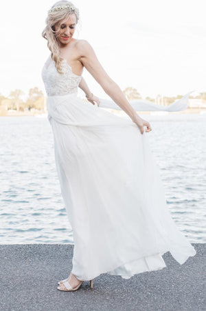 6e0576ada4f7 Simple Sheath Floor Length Sweetheart Strapless Wedding Gowns,Open Back  Appliques Beach Wedding Dress
