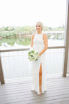 A Line Floor Length Sleeveless Sheer Back Appliques Side Slit Beach Wedding Dress OMW80 - Ombreprom