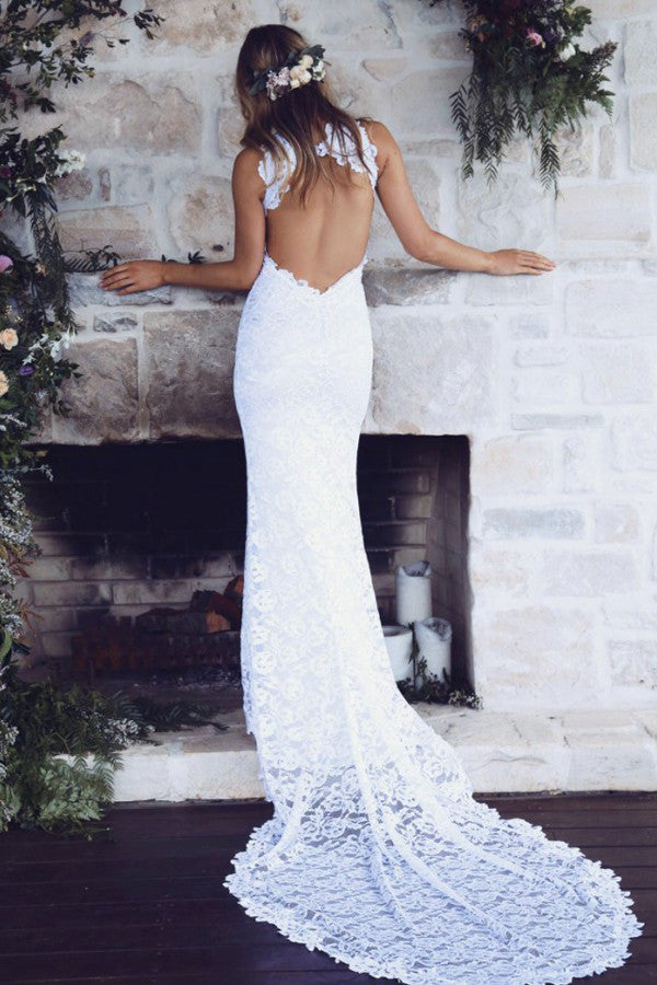 Boat Sleeveless Side Slit Wedding Gowns,Open Back Appliques Beach Wedding Dress OMW82