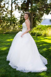 Gorgeous Square Sleeveless Ball Gown Wedding Gowns,Mid Back Sequins Beading Wedding Dress