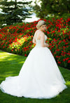 Square Sleeveless Ball Gown Wedding Gowns,Mid Back Sequins Beading Wedding Dress OMW87