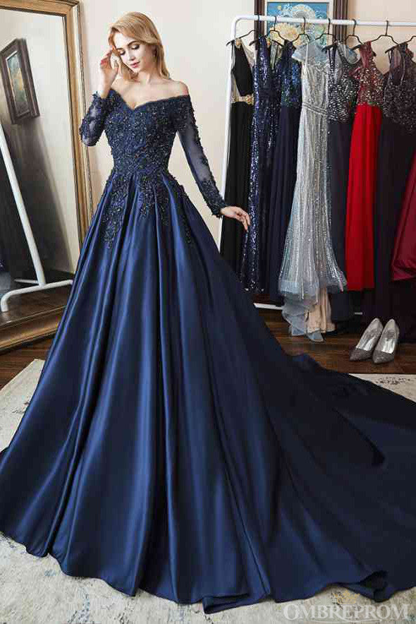 Off Shoulder Prom Dresses V Neck Lace Top Long Sleeves Ball Gowns D12