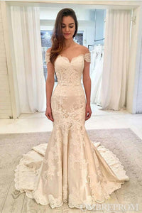 Off Shoulder Sweetheart Court Train Lace Mermaid Wedding Dresses W580