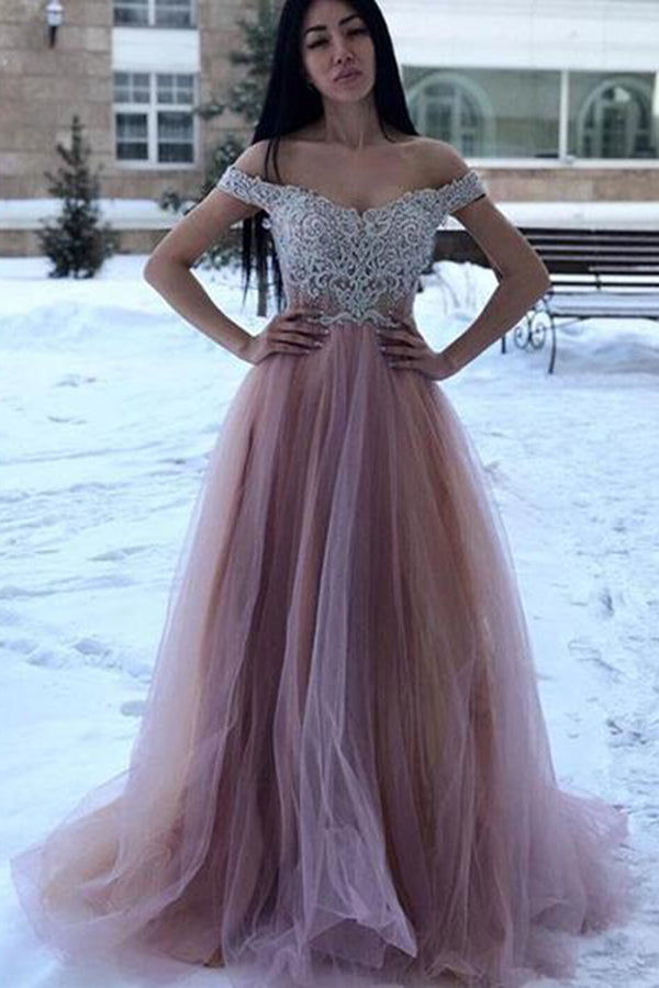 Off Shoulder Tulle Sweetheart A Line Long Prom Dress D385