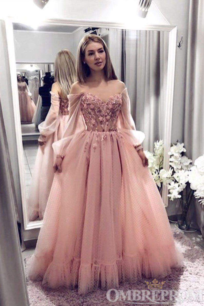 Off Shoulder V Neck Prom Dress Floor Length Ball Gowns D342