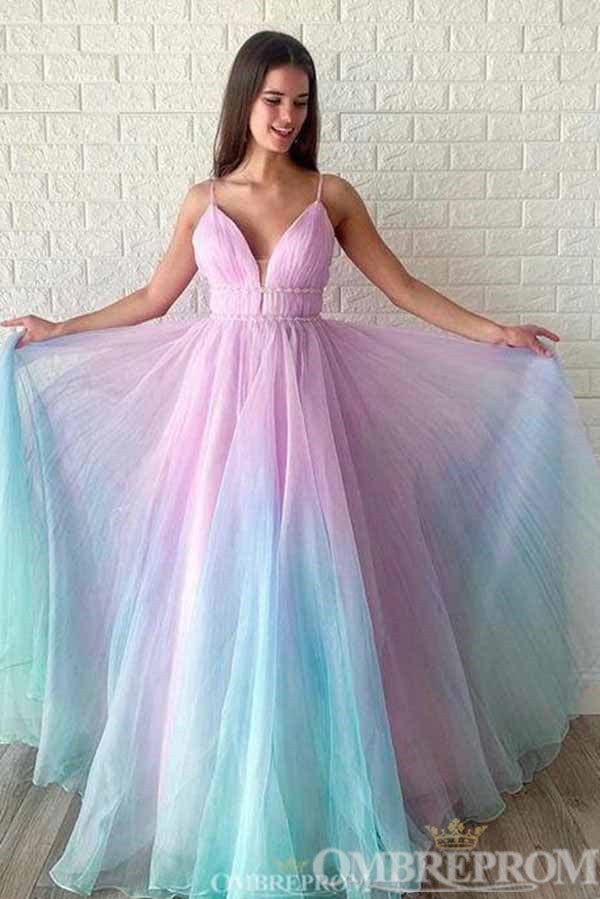 Ombre Spaghetti Straps Sleeveless A Line Prom Dress D328