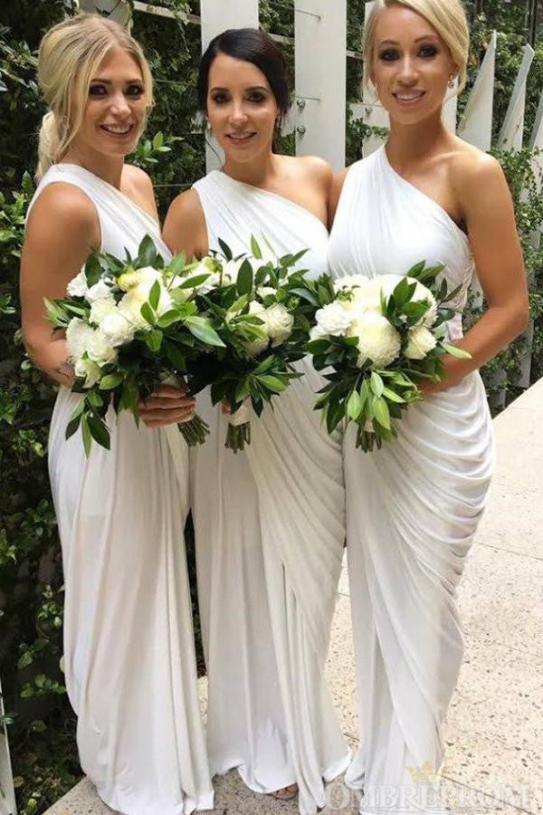 One Shoulder Sleeveless Mermaid Bridesmaid Dress Wedding Party Dress B470