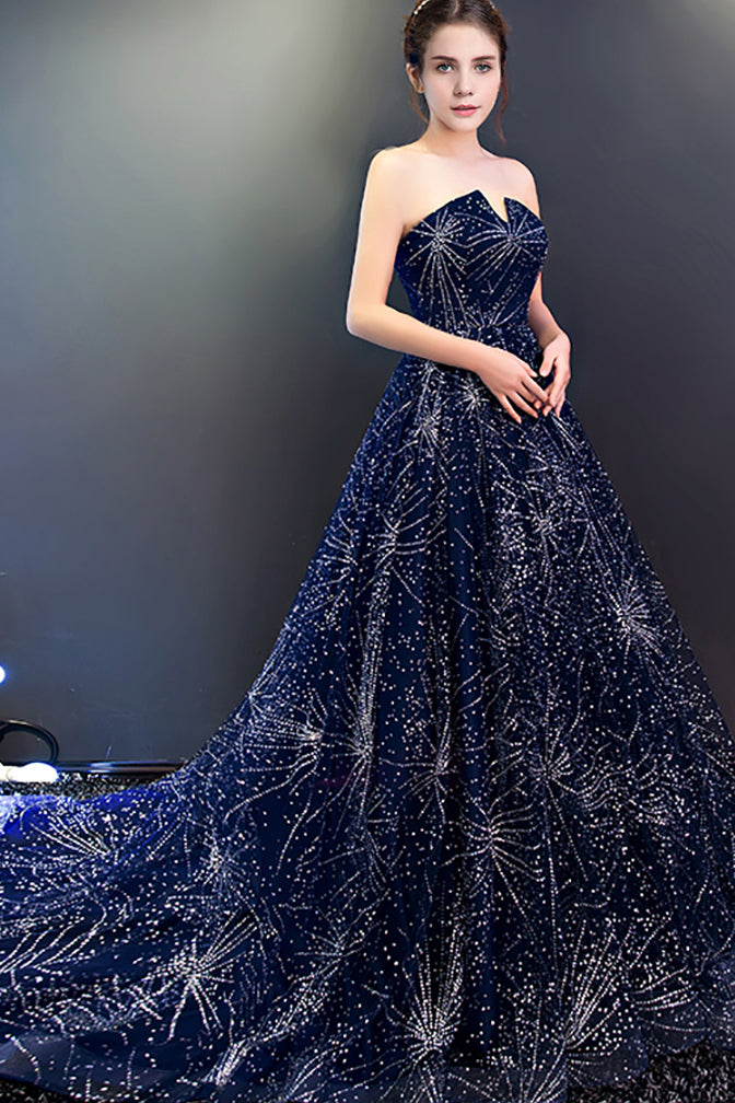 Navy Blue A Line Court Train Curve Sleeveless Sparkle Starry Night Long Prom Dress,Party Dress P182