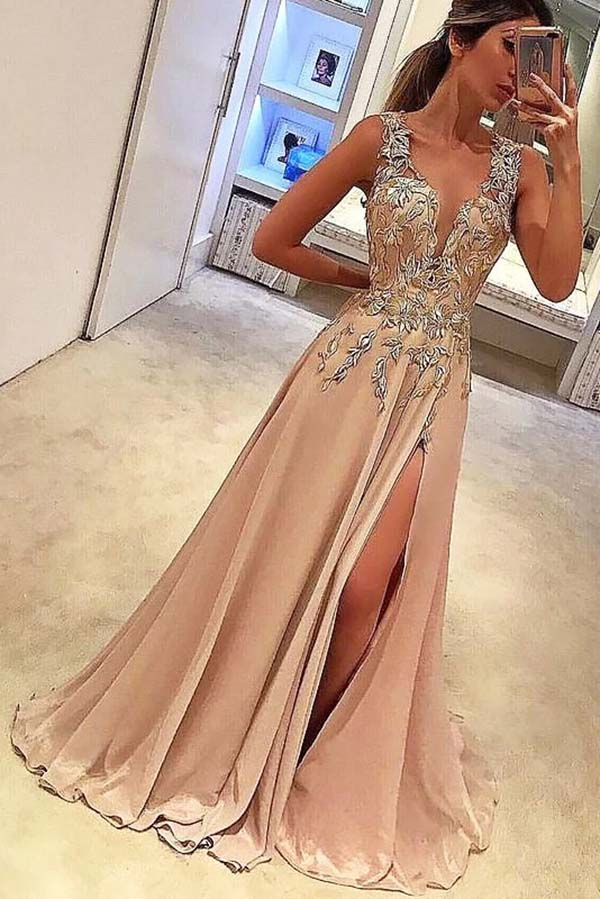 Elegant V Neck Sleeveless Appliques With Split Side Prom Dress P642