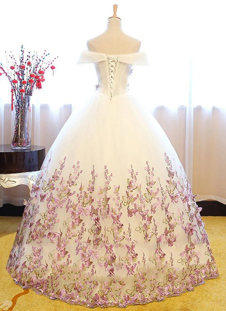 Elegant Off the Shoulder Tulle Floor Length With Appliques Prom Dress P643