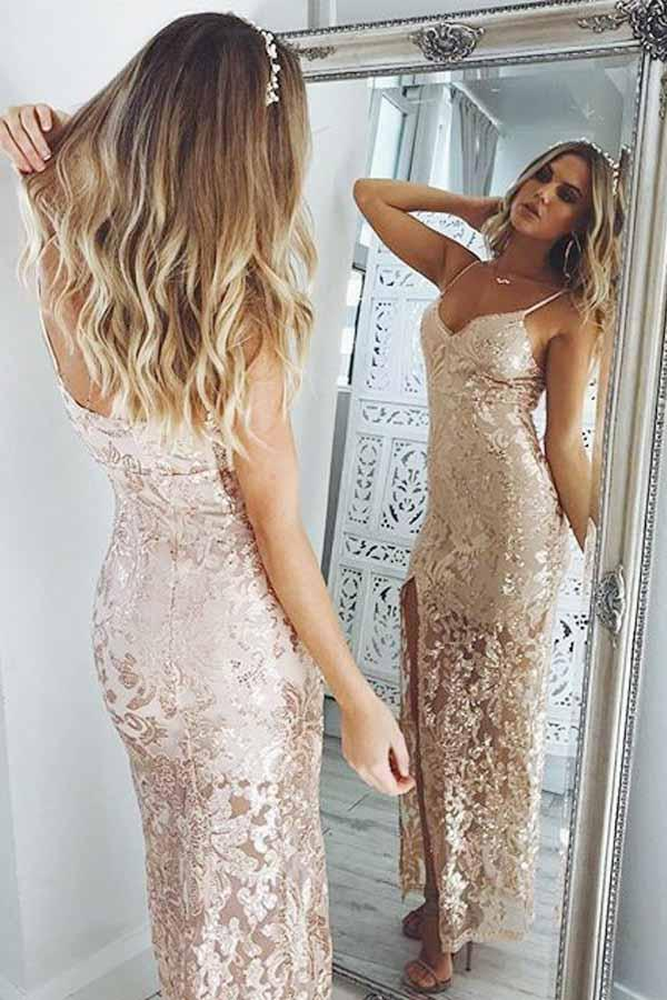 Luxury Spaghetti Straps Split Sequins With Appliques Prom Dress P649