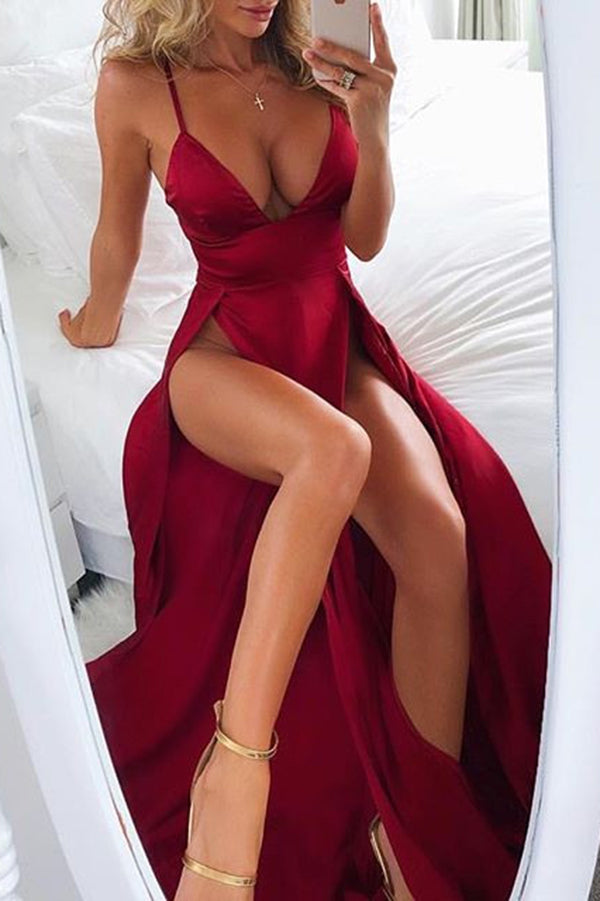 Luxury Red Spaghetti Straps V Neck With Split Side Prom Dress P653