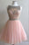 Tulle Sheer Homecoming Dress, Beading Short Prom Dress HCD95