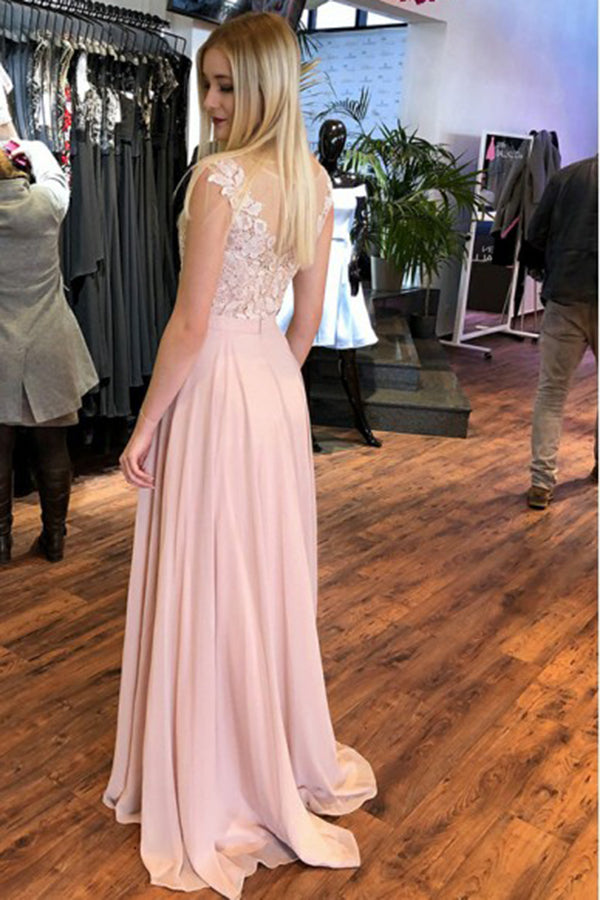 Pink Round Neck Lace Appliques A Line Prom Dress D378