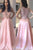 Pink Round Neck Top Lace A Line Long Prom Dress D281