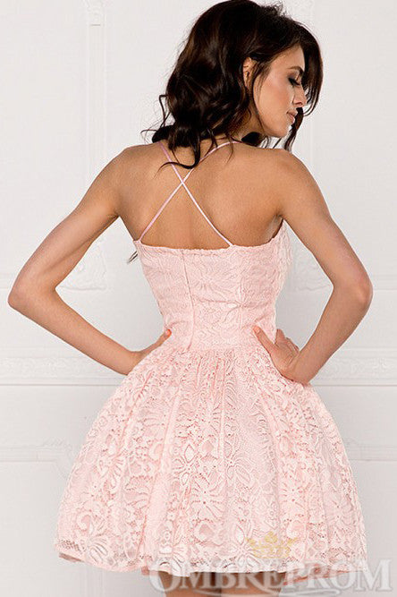 Pink Spaghetti Straps A Line Lace Homecoming Dress M676